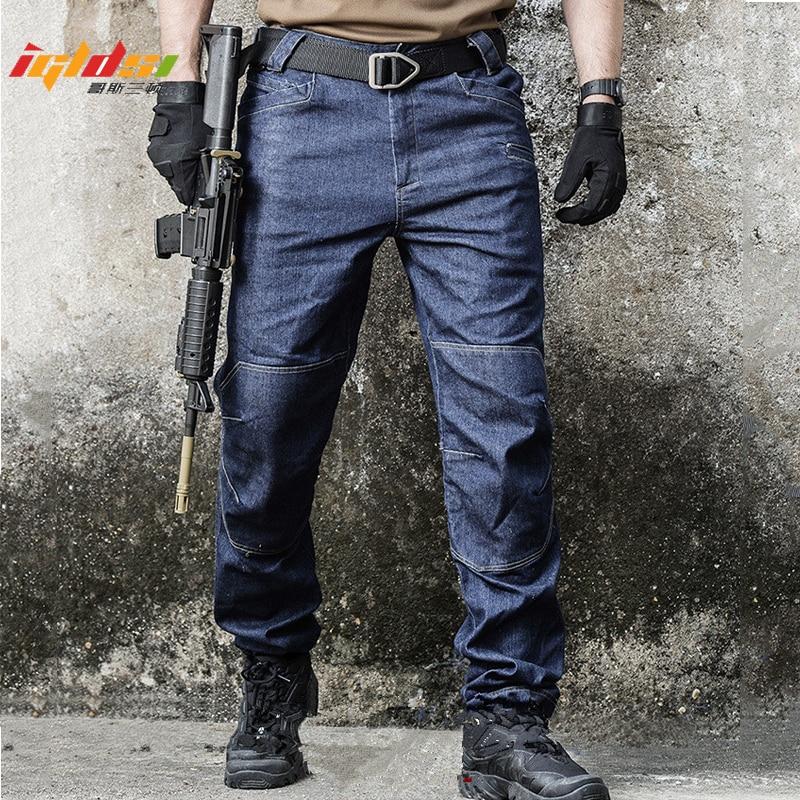 Military Jeans Tactical SWAT Multi Pocket Denim Pants Cotton Army Combat Jeans Men Wearable Special Force Flexible Cargo Pants