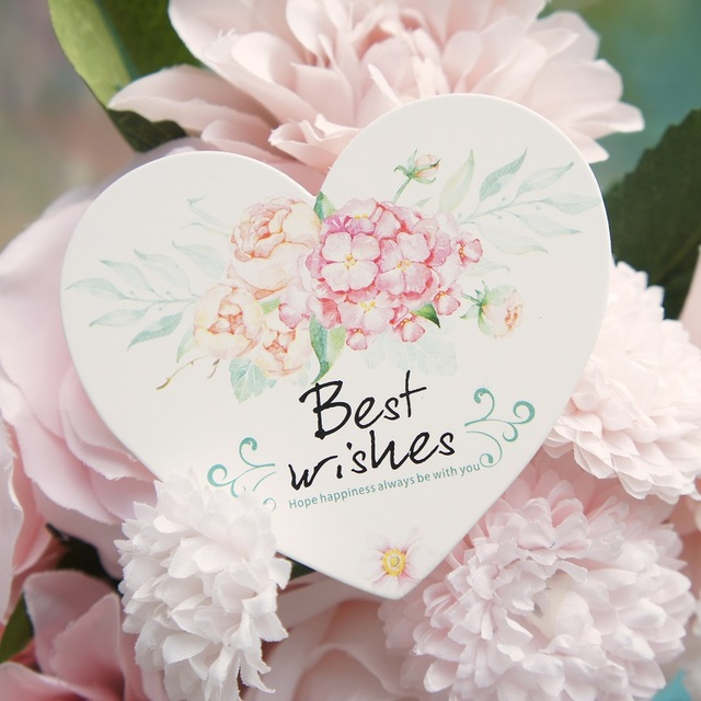 50pcs heart shape best wish Card flower style leave message cards