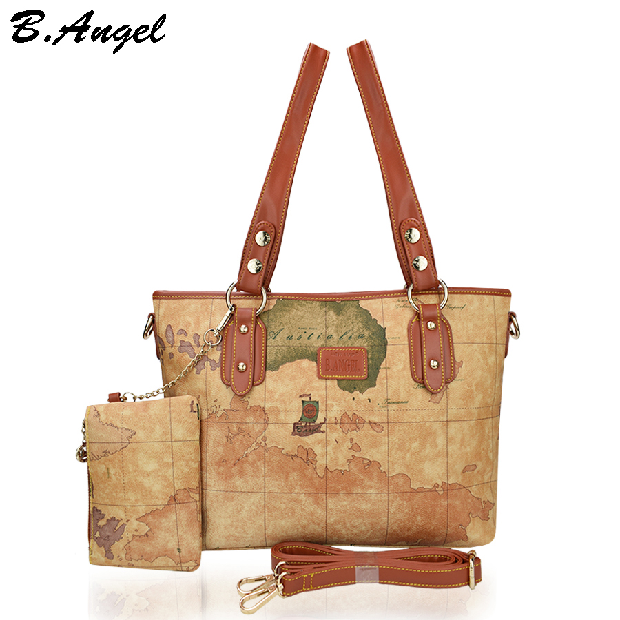 Vintage world map women bag with wallet women messenger bags leather handbags tote bags women big ladies shoulder bags crossbody
