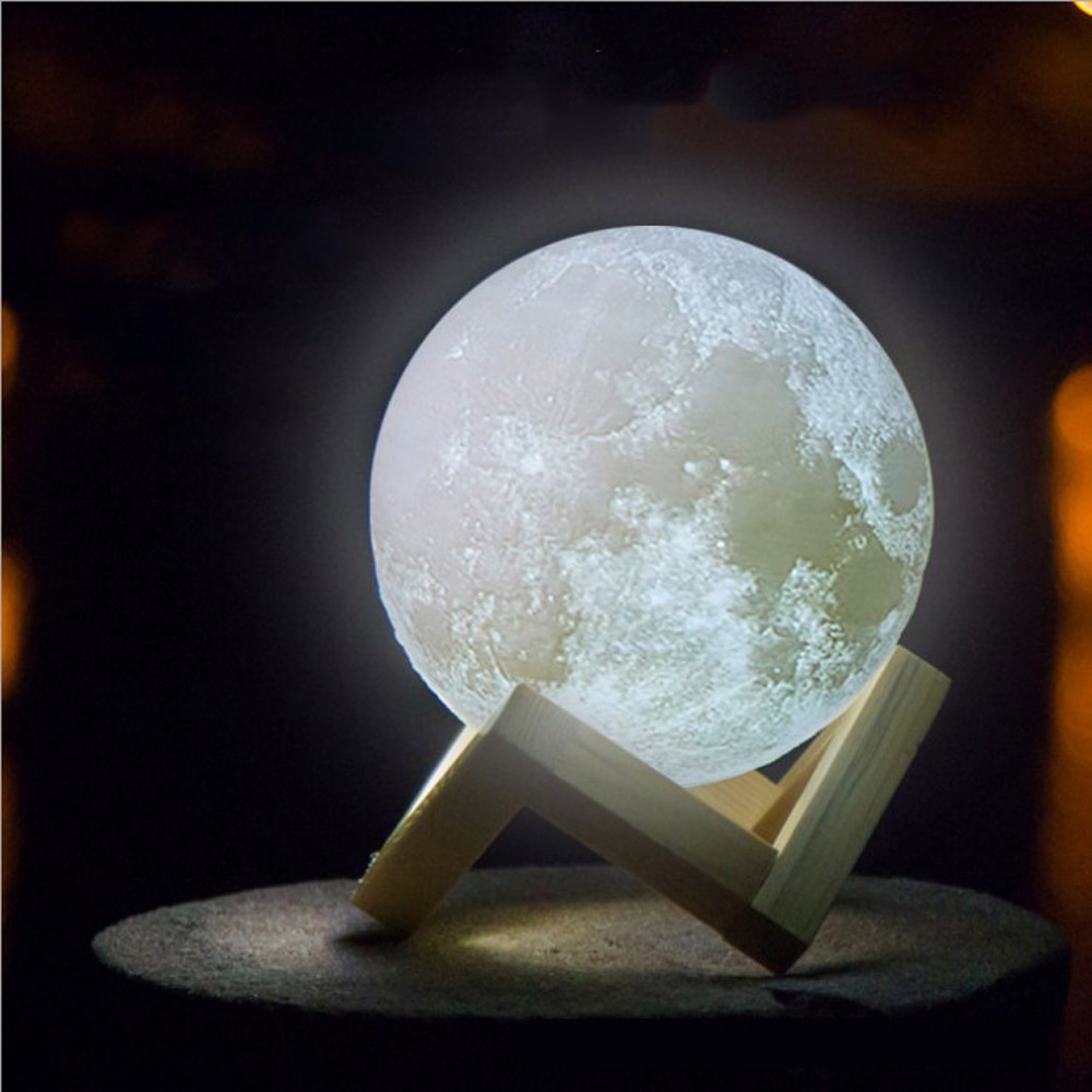 Creative Gift 3D Moon Lamp 2 Color Change Rechargeable Touch Switch Bedroom For Bookcase mini Night Light Home Decor in 2018