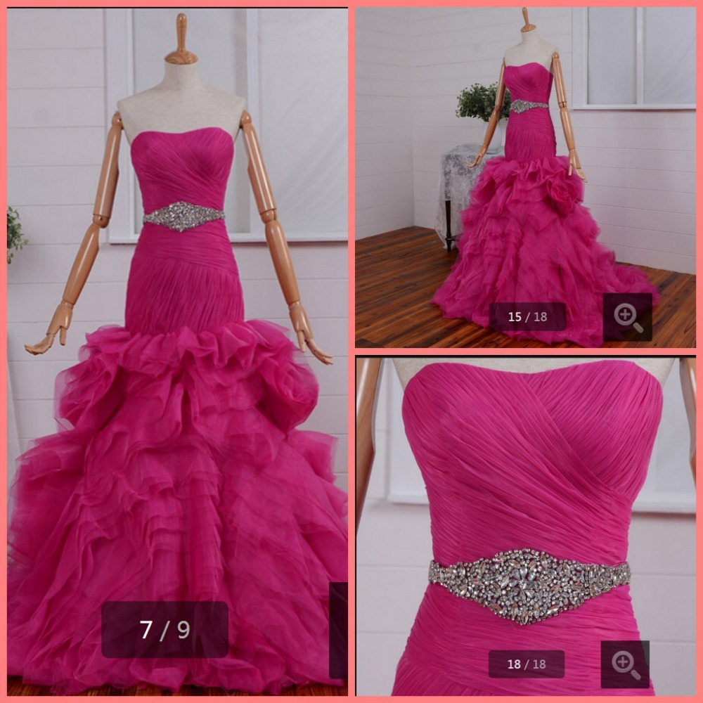 742599cf8fb39 winter 2015 stunning fuchsia ruffled pleated beading sequins prom dresses  sashes floor length layered prom gowns hot sale