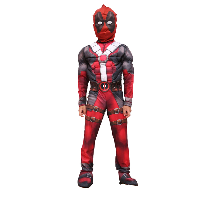 deadpool costume kids deluxe muscle superhero cosplay halloween costumes for child boys birthday party clothing