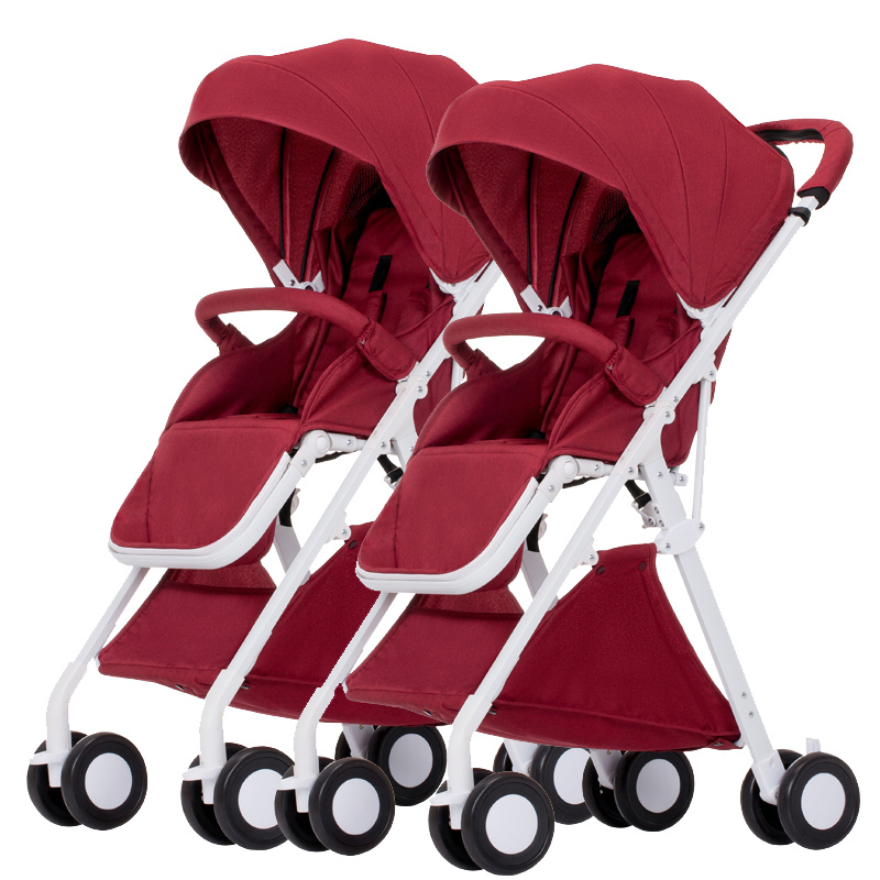 Super light Twins Baby Stroller Can Sit and Lying trolley Folding Double Light Stroller 5.1KG travel Umbrella carts gubi baby stroller can sit and lying umbrella carts light folding stroller ond hand fold