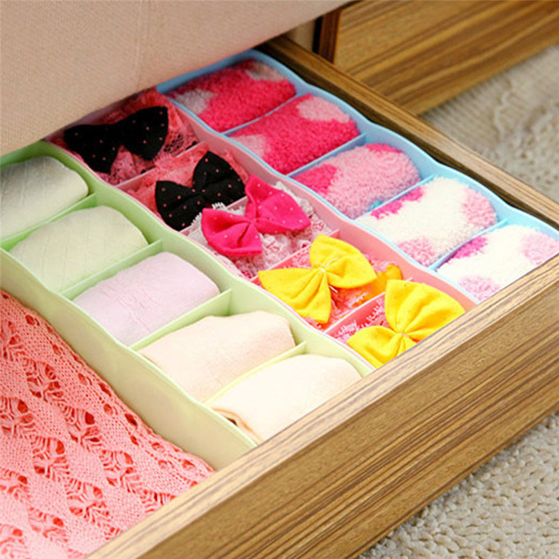 5 Grids Plastic Organizer Storage Boxes Separator Tie Bra Socks Drawer Cosmetic Divider Tidy Solid Color Storage Tool #5AU03 (11)