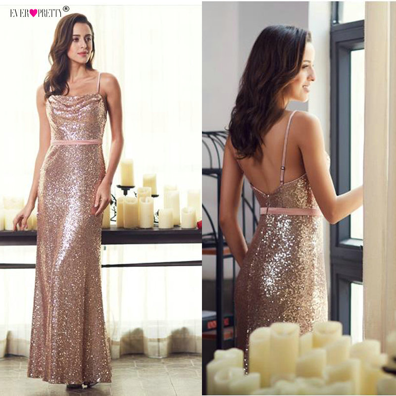 Prom Dresses 2019 Ever Pretty 7087 Rose Gold Mermaid Backless Sparkle Sequins Sexy Party Dresses Long