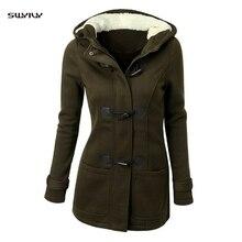 SWYIVY Winter Jacket Women Woolen Coat Ladies 2019 Fur Hooded Womens Wool Female Mid Long For Woman Ourwear