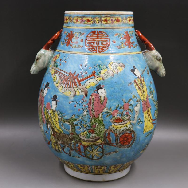 Цин Канси синий и белый расписанную облака Дракон ведро Фиштейл ваза ручной работы Цзиндэчжэнь антикварная фарфоровая