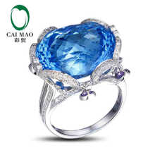 CaiMao 18KT/750 White Gold 35 ct Natural Blue Topaz & 1.05 ct Full Cut Diamond Engagement Gemstone Ring Jewelry