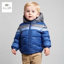 DB3889 дэйв белла зима мальчик вниз перо пальто дети белый утка пуховые пальто с капюшоном мальчиков красный синий ватник