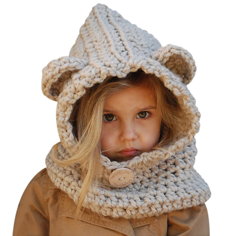 5bed427790d 2017 Warm Bear Hat With Neck Infant Winter Autumn Hat Crochet Children s  Knitted Hat Helm Cute Collar Warmer Wrap Kids Hats