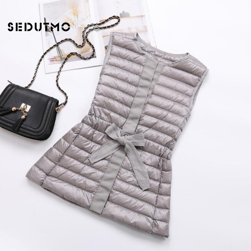 SEDUTMO Winter Ultra Light Women Down Vest Jackets Spring Short Duck Down Coat  Sleeveless Slim Black Waistcoat ED618