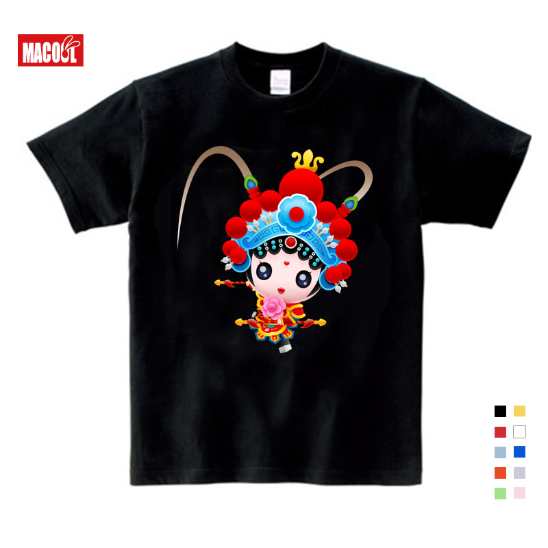2019Summer Beijing Opera Boys T shirt Short sleeved Shirt tops girls tops Costume Theodore Costume kids costume Free Shipping in T Shirts from Mother Kids