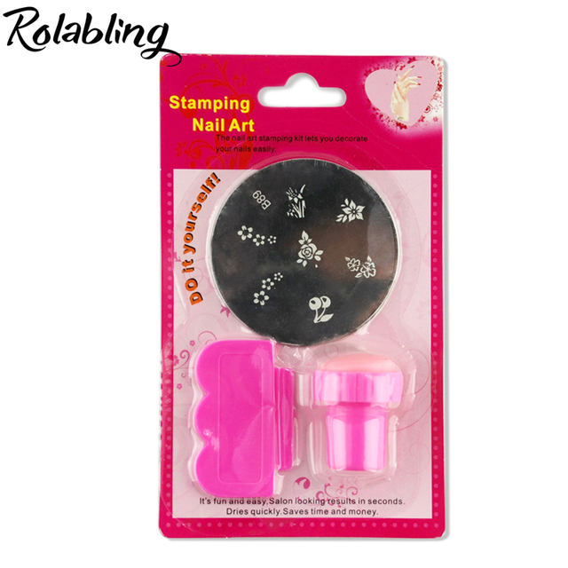 Hotsale 1PC Professional Pink Nail Stamping Kits+Stamp+Scraper For ...