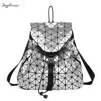 BaoBao Issey Leisure Women Laser Geometry Lattice Backpacks Miyake Drawstring Quilted Foldable School Bags For