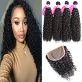Brazilian Kinky Curly Virgin Hair 4 Bundles With Closure Wet And Wavy 7A Unprocessed Brazilian Hair Weave Bundles With Closure