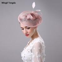 Hemp Bride Hat Bow Feather Headdress Wedding Accessories Bridal Hats Bibi Mariage Cap Chapeau Mariage Mingli Tengda Wedding Hats