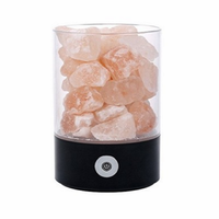 USB Night Light Crystal Salt Lamp Natural Negative Ion Creative Health Lava Lamp Dimmable Touch Switch for Home Office Lamp