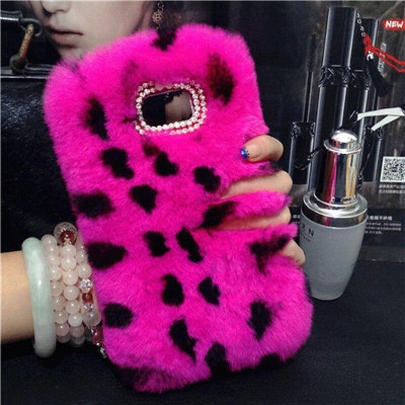 bilder für Top Echtem Kaninchenfell Fall Für LG G3 G4 G5 V10 K7 K8 K10 Fuzzy Haar capas para Nette Strass Luxus Telefon Funda Capa