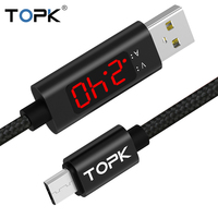 TOPK 3A(Max) Voltage and Current Display Nylon Braided Aluminum Casing Micro USB Cable For Samsung Xiaomi Huawei HTC Mobile Phone Cables
