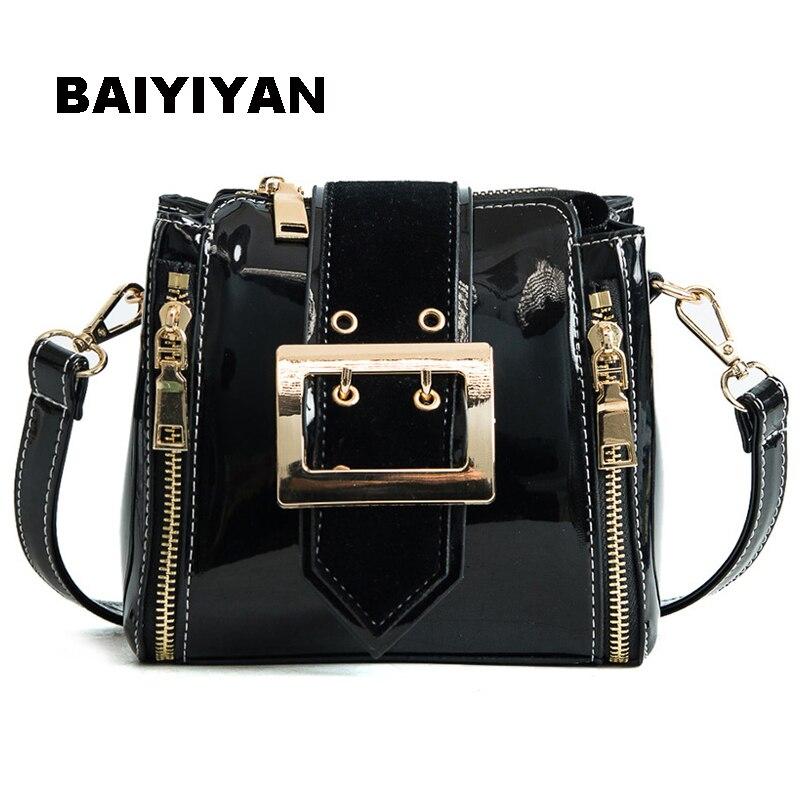 BAIYIYAN Brand Women's bag ladies handbag elegant bag candy color fashion patent leather shoulder bag mini luxury bucket bag