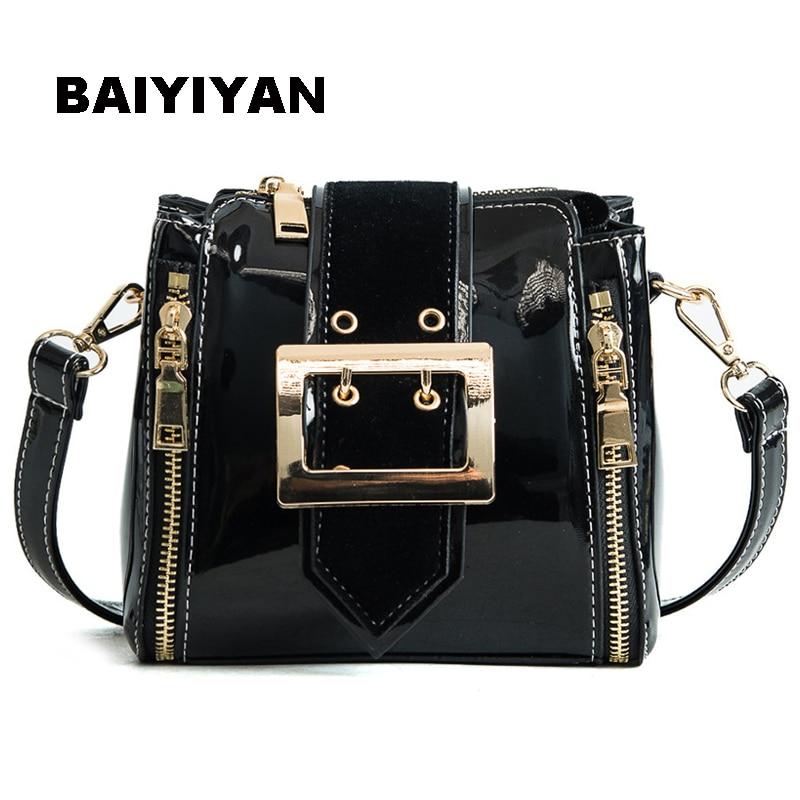 New Women's Shoulder Bag ladies handbag Candy Color fashion Patent Leather Crossbody Bag Luxury Small Bucket Bag
