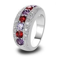 lingmei Alluring Garnet Amethyst Tourmaline 925 Silver Ring Size 6 7 8 9 10 11 12 Romantic Love Style Women Jewelry Wholesale