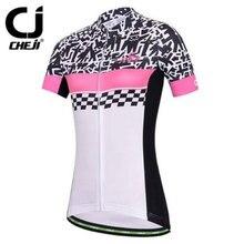 CHEJI Graffiti Women's Short Sleeve MTB Shirts Bike Clothing Cycling Jerseys Bicycle Jacket