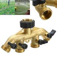 Brass Garden 4 Way Tap Connector 3/4'' Hose Pipe Splitter Drip Irrigation Connectors for Garden Watering System