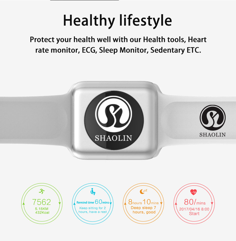 SHAOLIN Bluetooth Smart Watch Heart Rate Monitor Smartwatch Wearable Devices for iPhone IOS and Android Smartphones apple watch-17