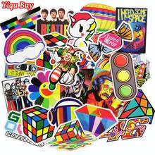 50 Pcs Mixed Funny Colorful Rainbow Sticker for Laptop Luggage Bags Handbag Toy Doodle Cool DIY Stickers PVC Creative Decals(China)