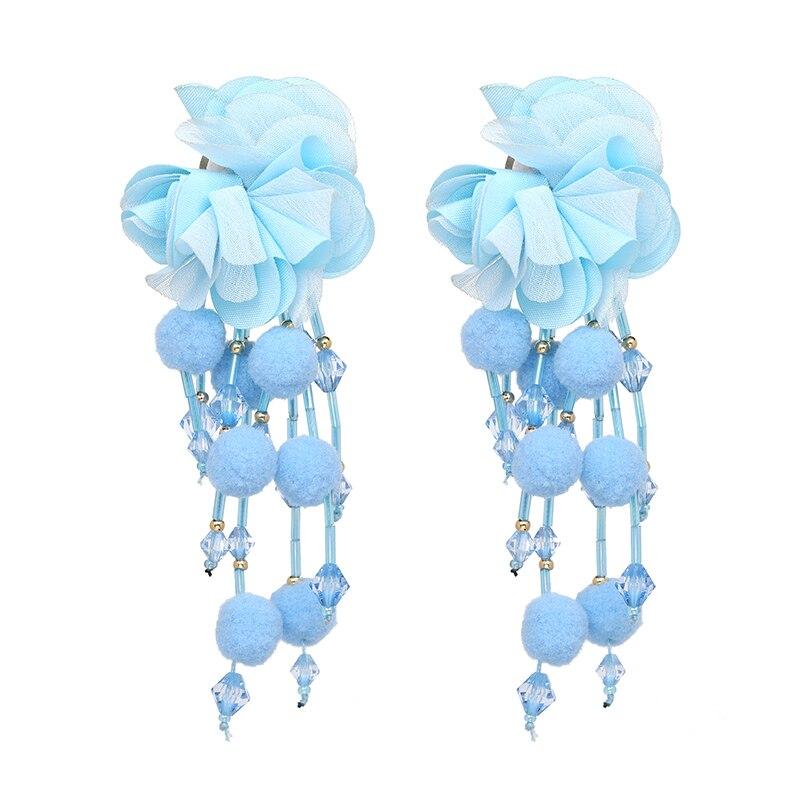 JUJIA Bohemian Long Flower Earrings Pom Pom Big Statement Earrings Fringe Drop Earrings Women Jewelry 8