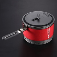 Alocs Fast Heating Outdoor Camping Cookware Utensils 1.3/2 L Camping Pot Heat Exchanger with Bowl Cup Outdoor Survival Tools