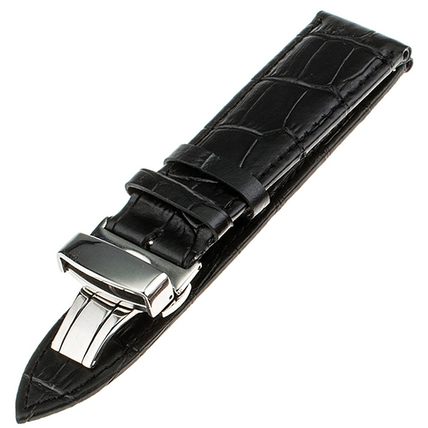 Calf Genuine Leather Watch Band 22mm for Samsung Gear S3 Classic / Frontier Stainless Butterfly Buckle Strap Wrist Belt Bracelet   Watchbands