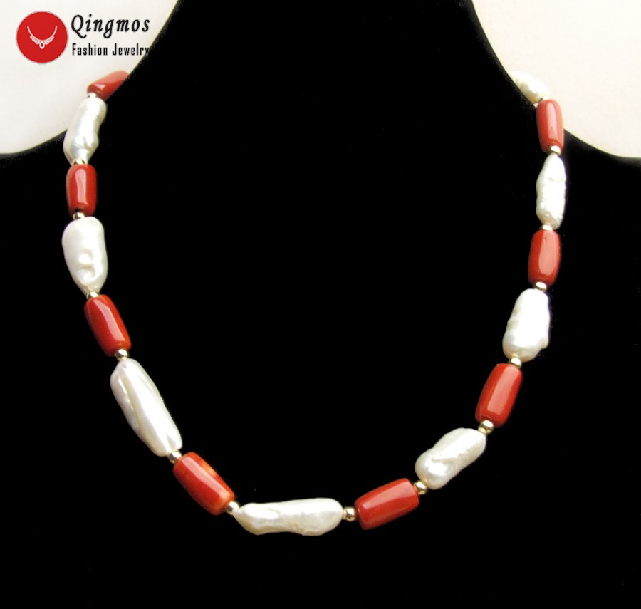 20-35mm Baroque White Nuclear Pearl Pendant Necklace for Women /& Pink Coral 17/'/'