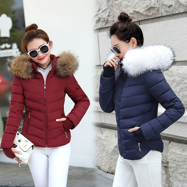 Winter Jacket Women Parkas for Coat Fashion Female Down Jacket With a Hood Large Faux Fur Collar Coat 2019 Autumn Outwear Ladies