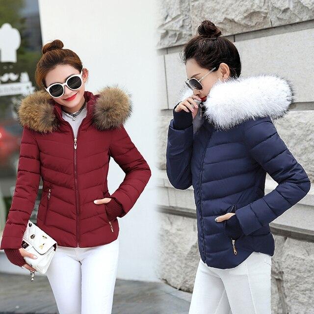 Áo Khoác mùa đông Phụ Nữ Parkas cho Áo Thời Trang Nữ Xuống Áo Khoác Với một Mui Xe Lớn Giả Cổ Áo Lông Thú Áo Khoác Mùa Thu 2019 outwear Phụ Nữ