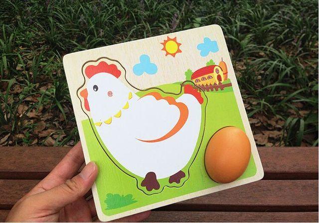 Курица куры откладывают яйца роста головоломки детский сад образование детей младшего возраста toysMultilayer головоломки / деревянные игрушки