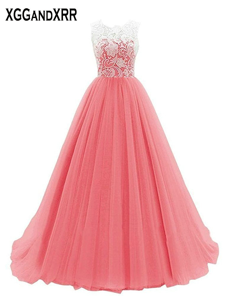 XGGandXRR Lace   Prom     Dress   Scoop Sleeveless Tank Formal Woman Wear Pink A-Line Tulle Evening   Dress   Long Illusion Design