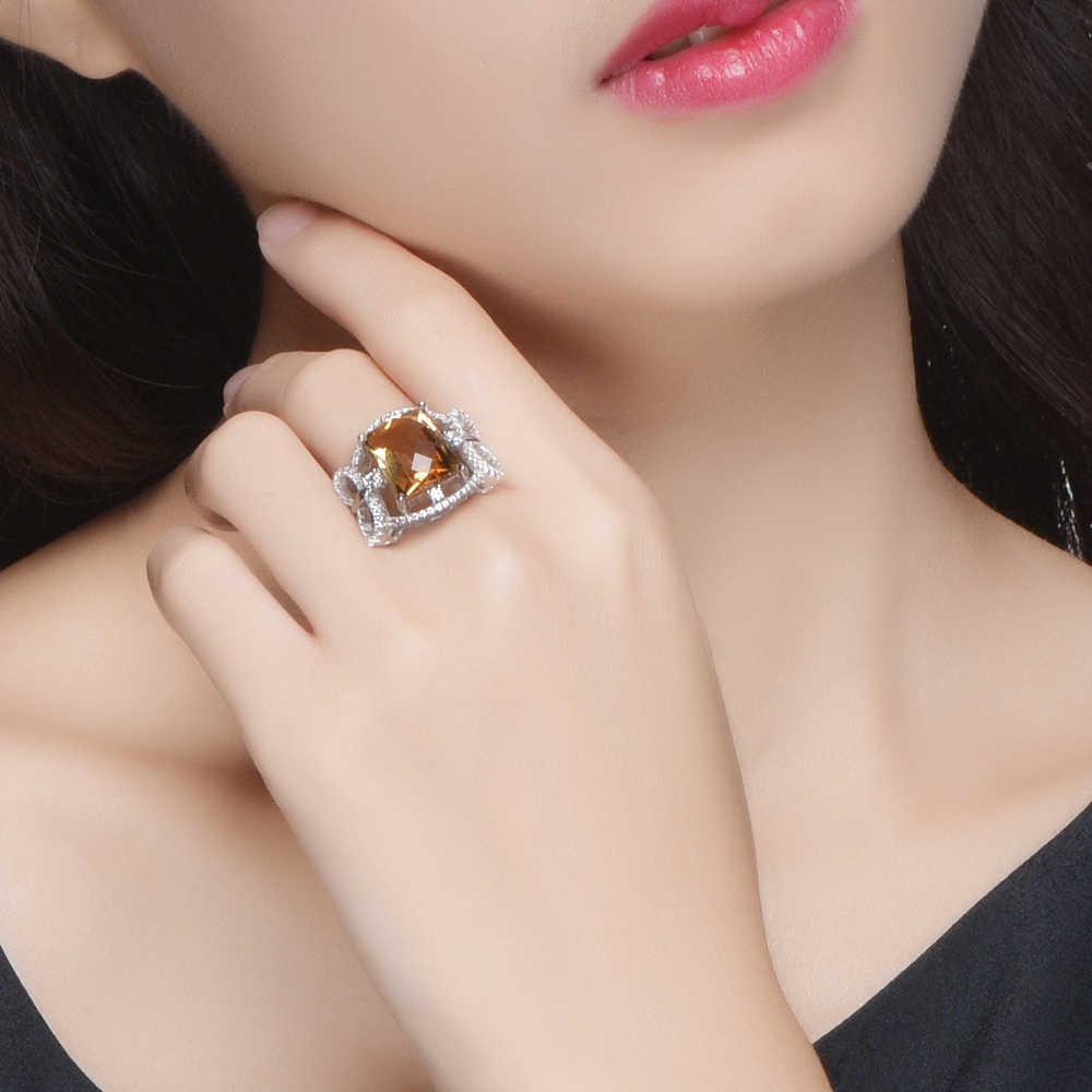 L & zuan 6.42ct ธรรมชาติ Citrine แหวน 925 เงินสเตอร์ลิงเครื่องประดับหินสีเหลืองโรแมนติกหรูหราแหวนคริสต์มาสของขวัญ