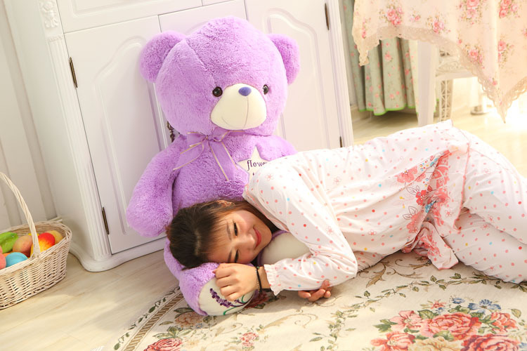 80cm lavender teddy bear plush toy doll throw pillow birthday gift b9052