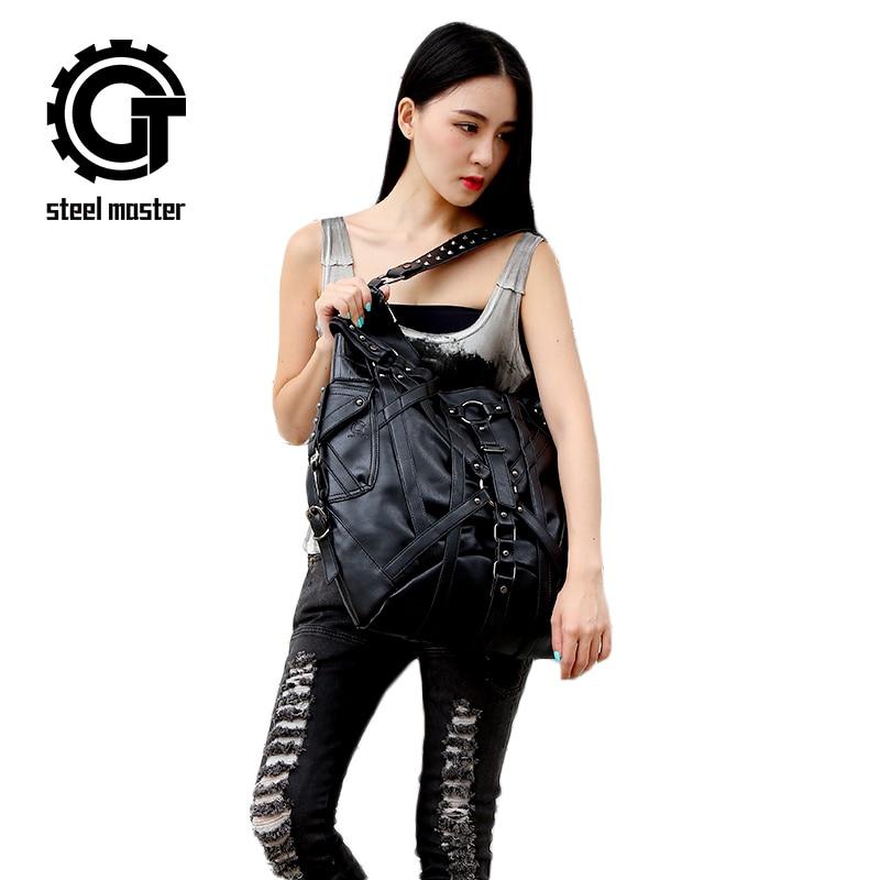 Steampunk Kadın Eğik Vintage Kaya Çanta Gotik Kadınlar Messenger - Çanta - Fotoğraf 1
