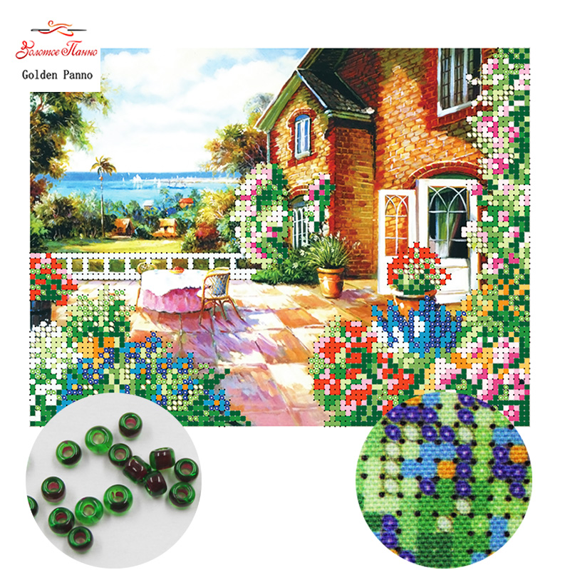 Golden Panno,Needlework,DIY,beads,Cross Stitch,Embroidery Stitch,Precise Printed Painting,scenic Pattern,garden 0414