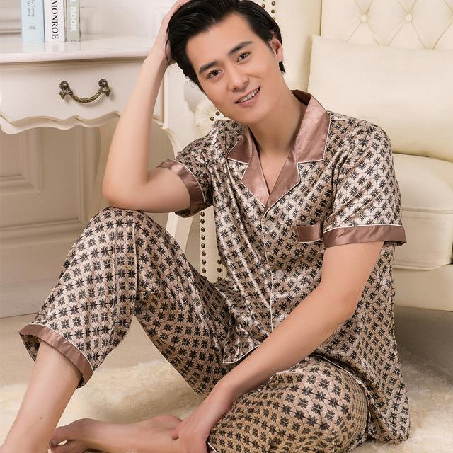 Mens ropa de Noche Fija Hombres Pijamas Hombres Satén Pijama Hombre Pijamas Pijamas Para Hombres Pijamas Hombres Pijama De Raso 31