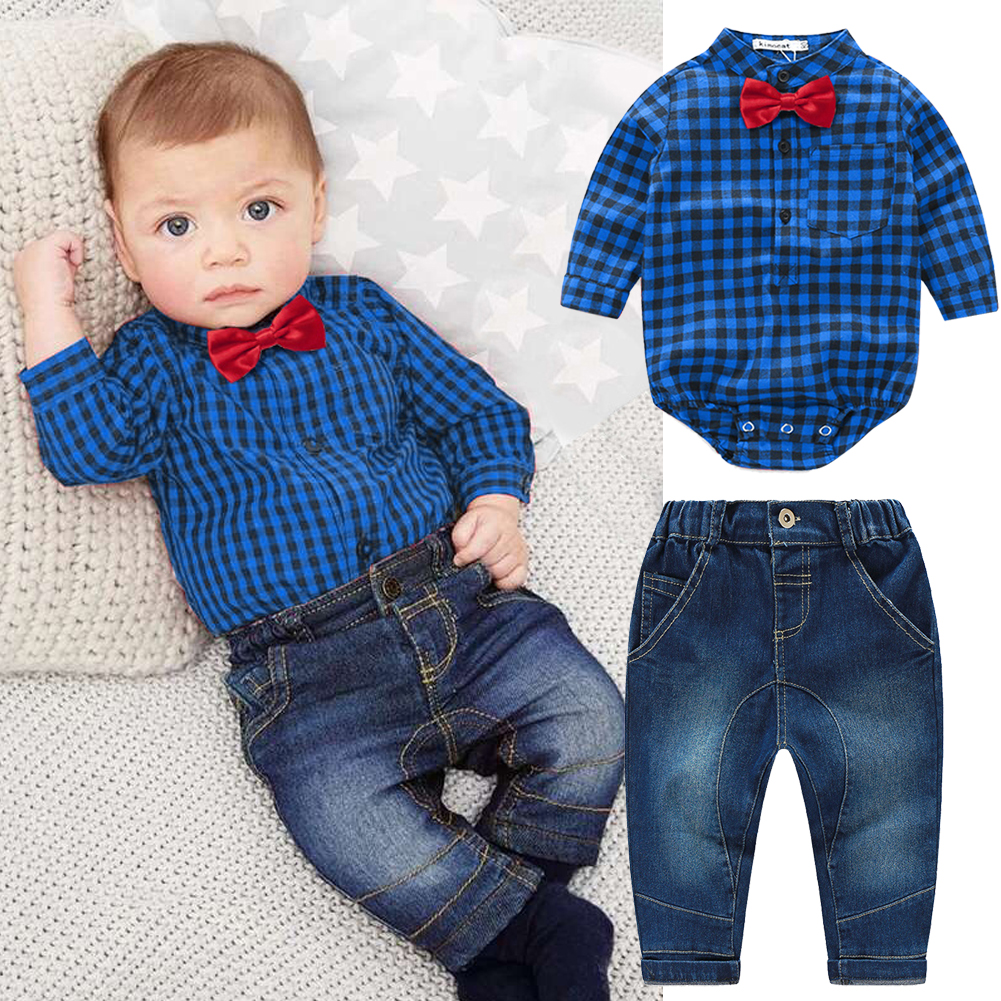 2881adef1 Newborn Kids Baby Boys Plaid Romper Jumpsuit Shirt Tops+Jeans Pants Outfits  Baby Boys Clothes Bebe Clothing Set-in Clothing Sets from Mother & Kids