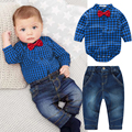 Newborn Kids Baby Boys Plaid  Romper Jumpsuit Shirt Tops+Jeans Pants Outfits Baby Boys Clothes Bebe Clothing Set