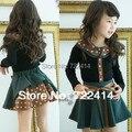 Оформление!! весна осень 2 шт. наборы юбка костюм детская одежда девушки с длинным рукавом точка футболка юбка одежда twinset