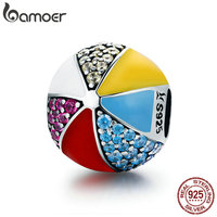 BAMOER Authentic 100 925 Sterling Silver Circus Colorful Ball Enamel CZ Charm Beads Fit Charm Bracelet