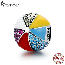 BAMOER Authentic 100% 925 Sterling Silver Circus Colorful Ball Enamel CZ Charm Beads fit Charm Bracelet Necklaces Jewelry SCC662