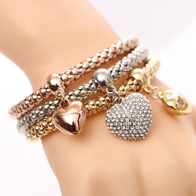 2016 New Fashion 3pcs/set Gold Silver Rose Gold Crystal Heart Elasticity Bangles Bracelets For Women Jewelry Wholesale pulseras пандора браслет с шармами