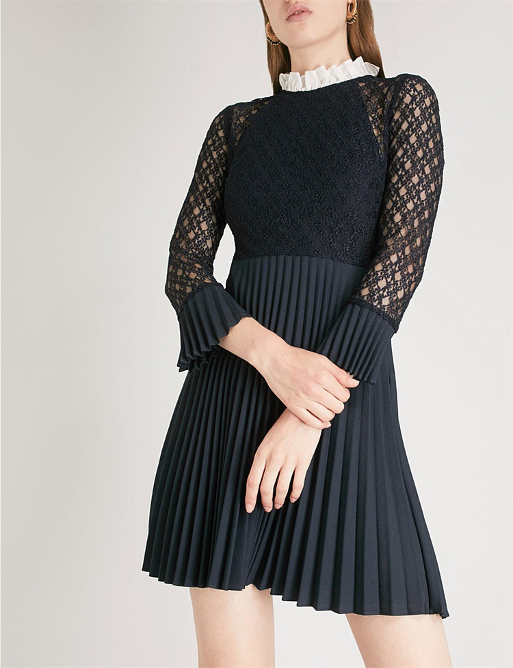 Women Dress 2019 Spring and Summer New Lace Pleated Dress